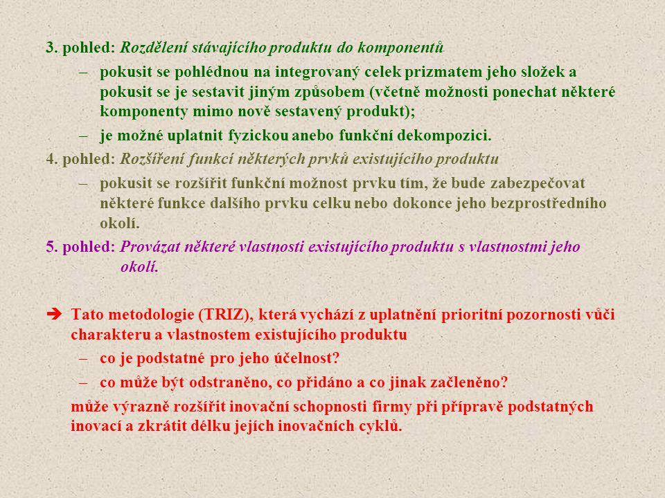 3. pohled: Rozdělení stávajícího produktu do komponentů