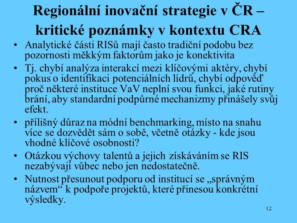 Regionální inovační strategie v ČR – kritické poznámky v kontextu CRA