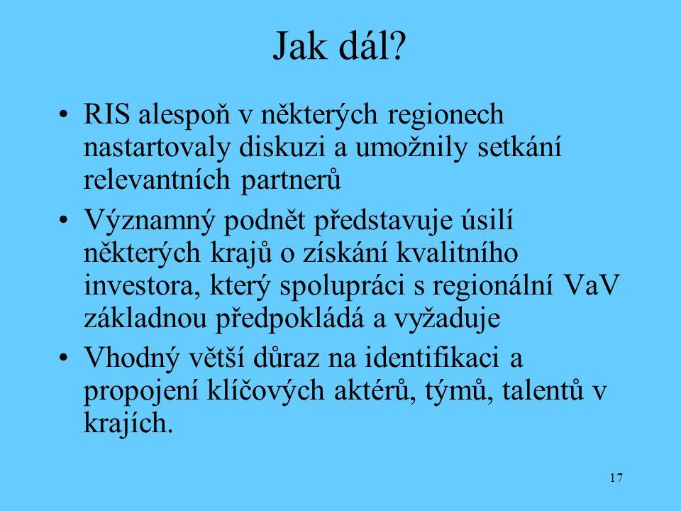 Jak dál RIS alespoň v některých regionech nastartovaly diskuzi a umožnily setkání relevantních partnerů.