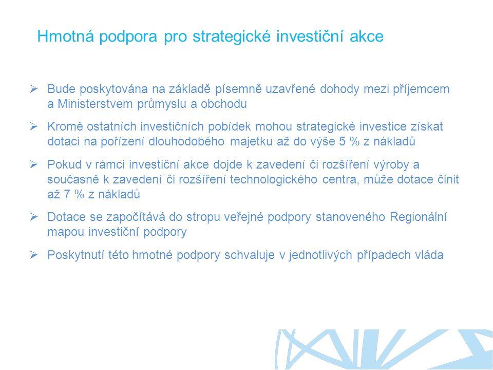 Hmotná podpora pro strategické investiční akce