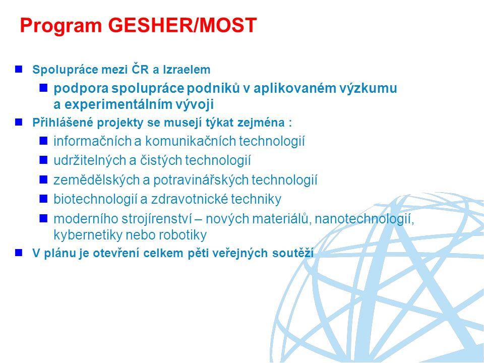 Program GESHER/MOST Spolupráce mezi ČR a Izraelem. podpora spolupráce podniků v aplikovaném výzkumu a experimentálním vývoji.