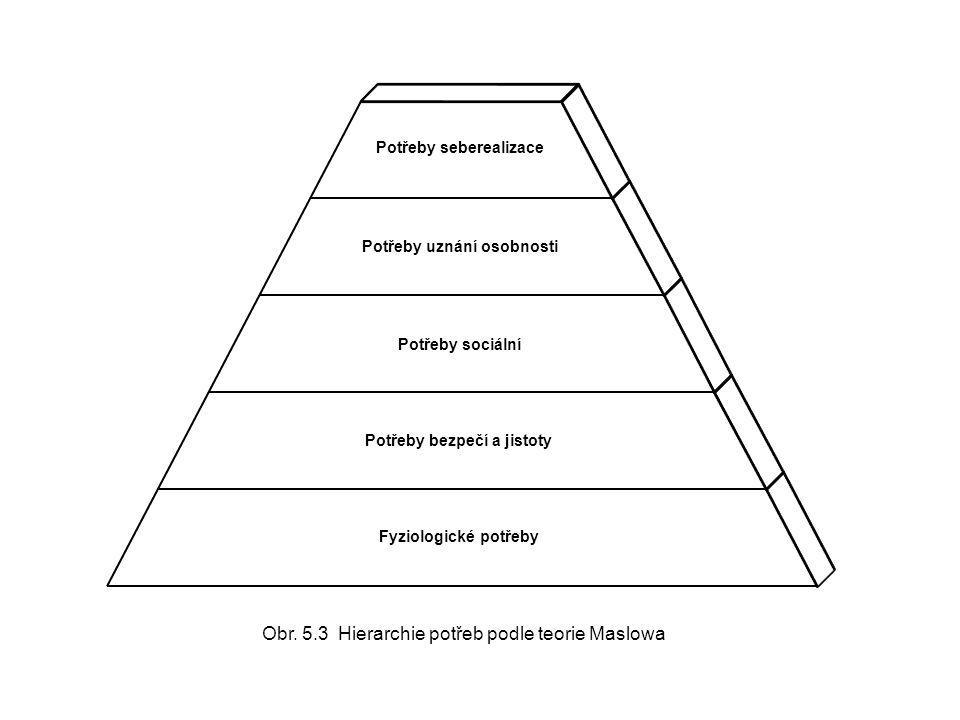 Obr. 5.3 Hierarchie potřeb podle teorie Maslowa