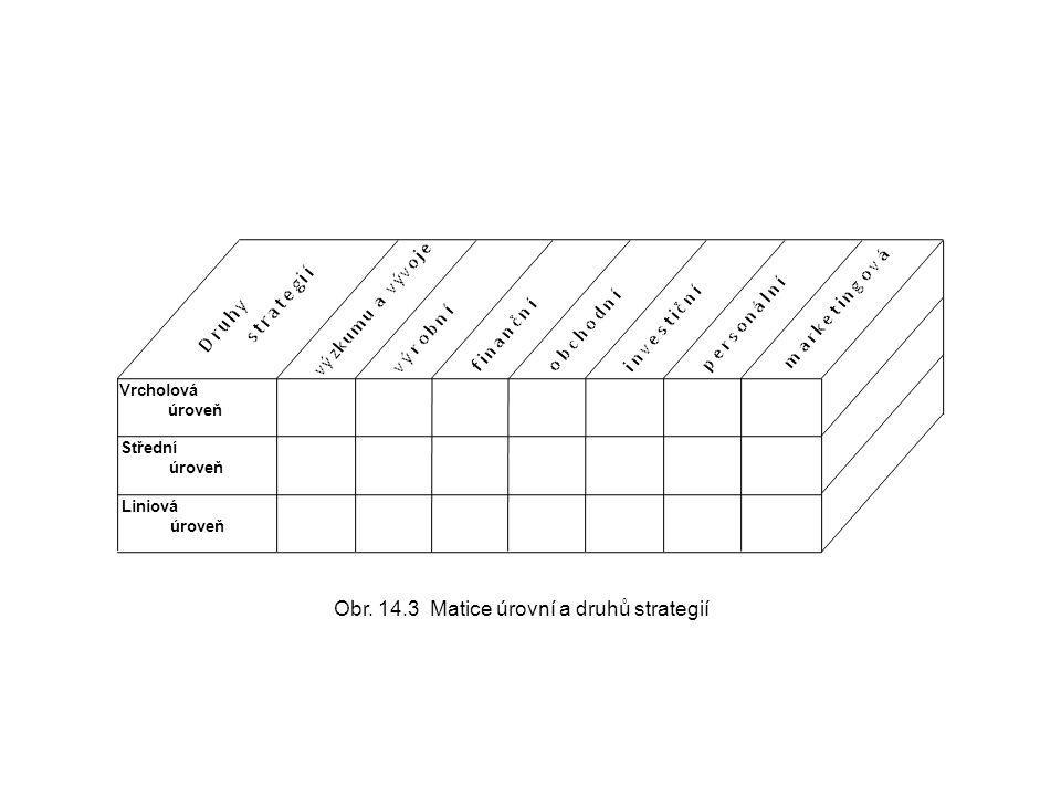 Obr. 14.3 Matice úrovní a druhů strategií