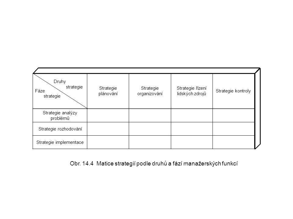 Obr. 14.4 Matice strategií podle druhů a fází manažerských funkcí