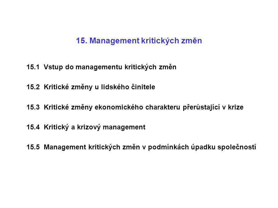 15. Management kritických změn