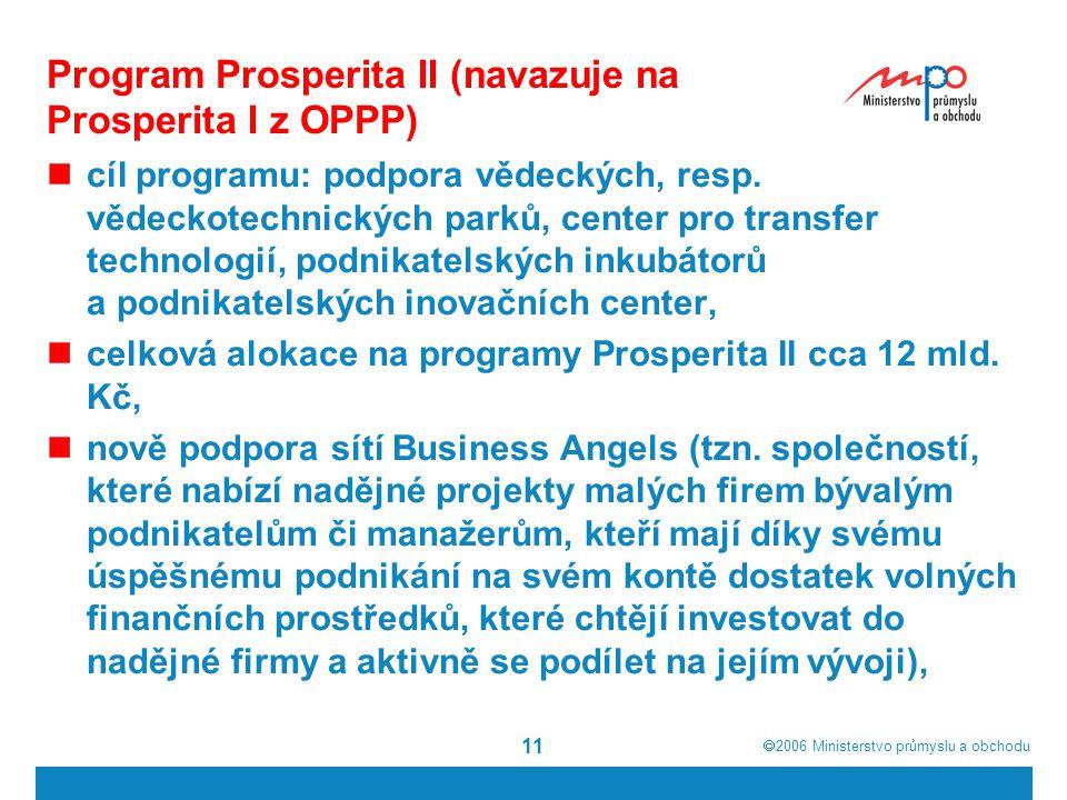 Program Prosperita II (navazuje na Prosperita I z OPPP)
