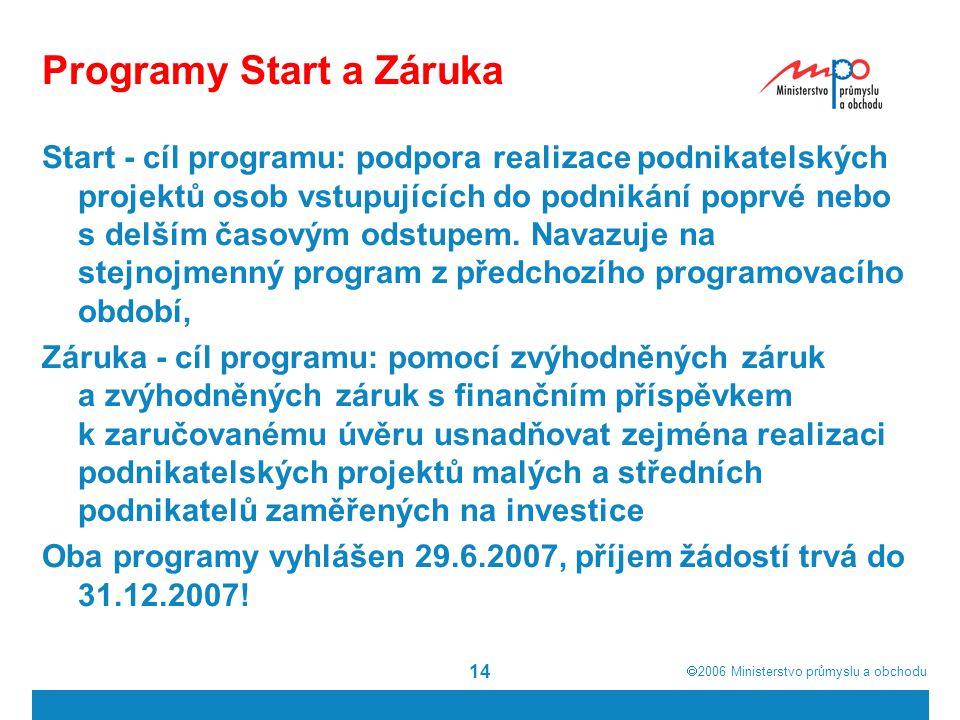 Programy Start a Záruka