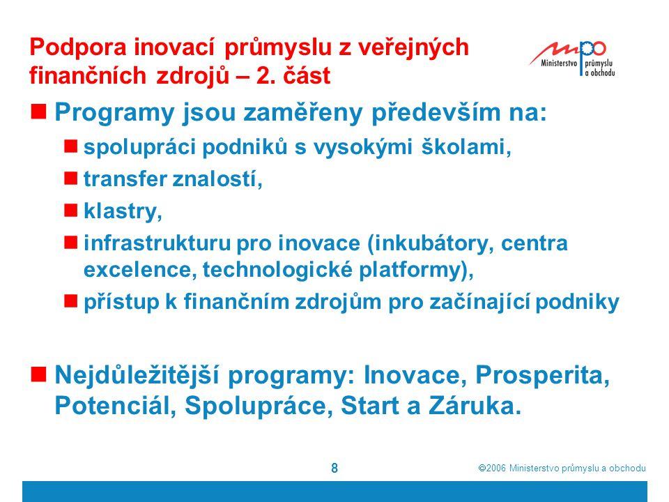 Podpora inovací průmyslu z veřejných finančních zdrojů – 2. část
