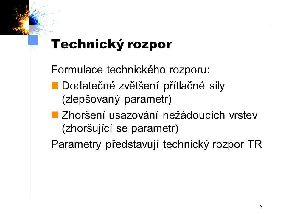 Technický rozpor Formulace technického rozporu: