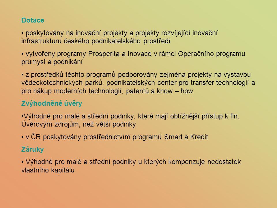 Dotace poskytovány na inovační projekty a projekty rozvíjející inovační infrastrukturu českého podnikatelského prostředí.