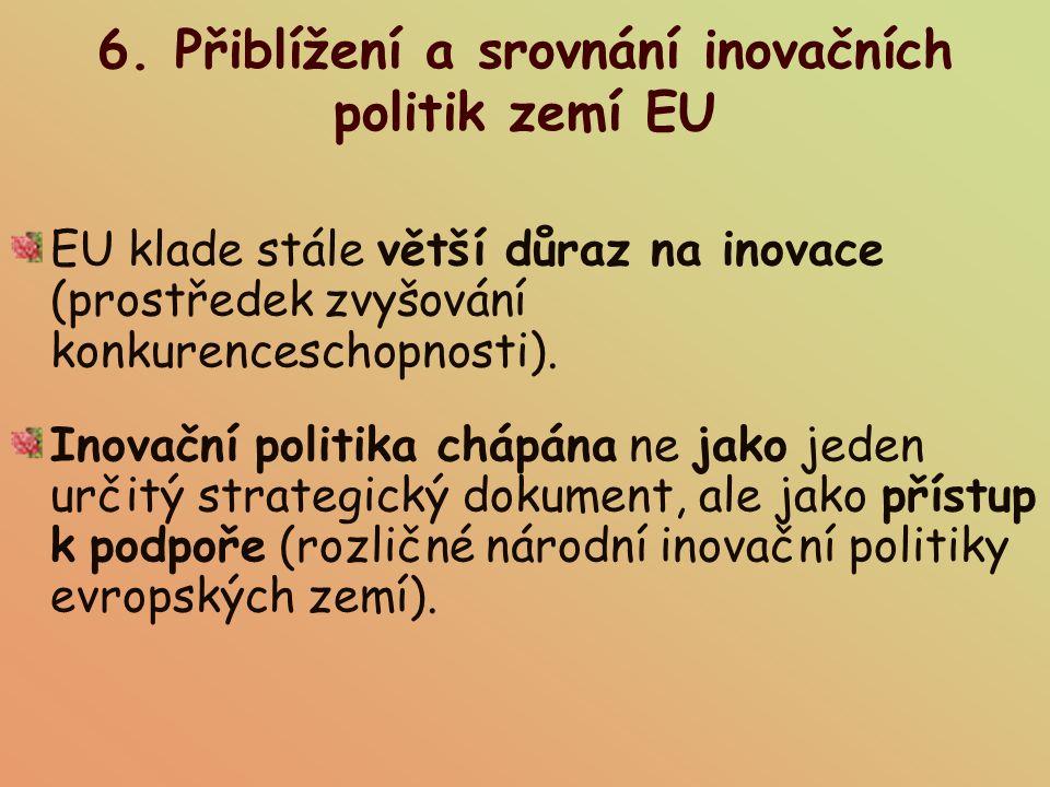 6. Přiblížení a srovnání inovačních politik zemí EU