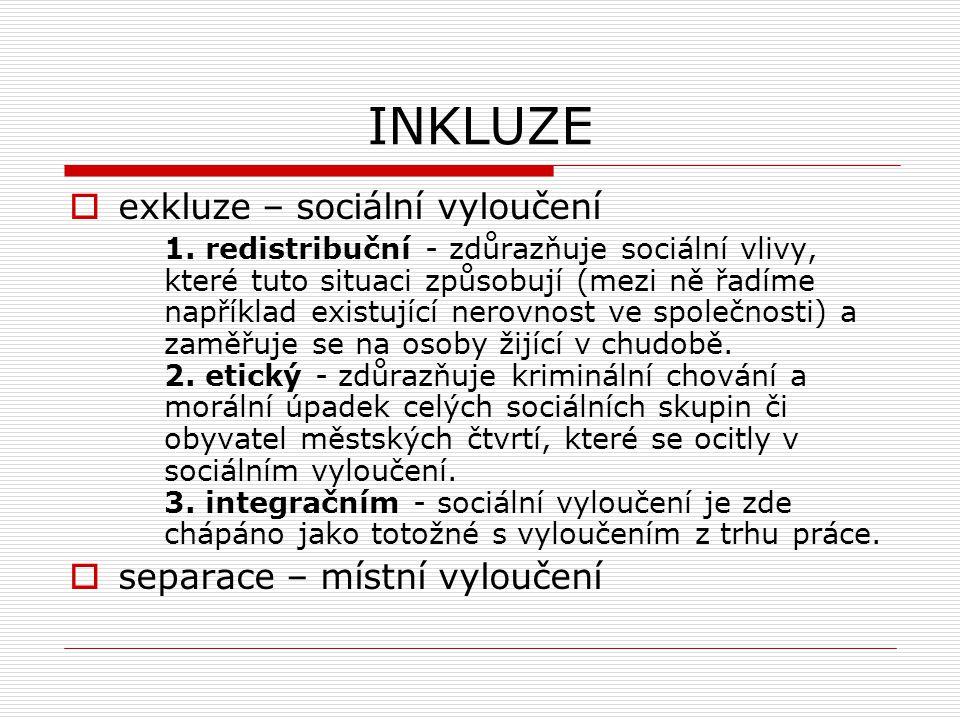 INKLUZE exkluze – sociální vyloučení separace – místní vyloučení