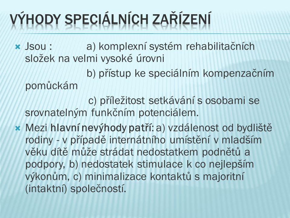Výhody speciálních zařízení