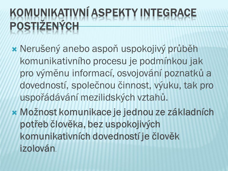 Komunikativní aspekty integrace postižených