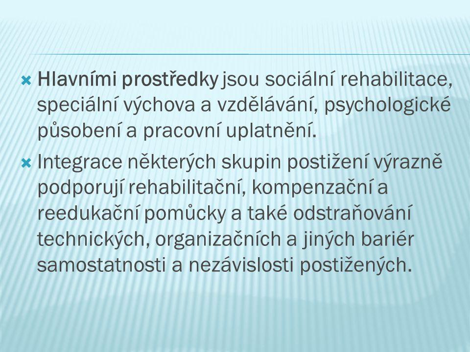 Hlavními prostředky jsou sociální rehabilitace, speciální výchova a vzdělávání, psychologické působení a pracovní uplatnění.