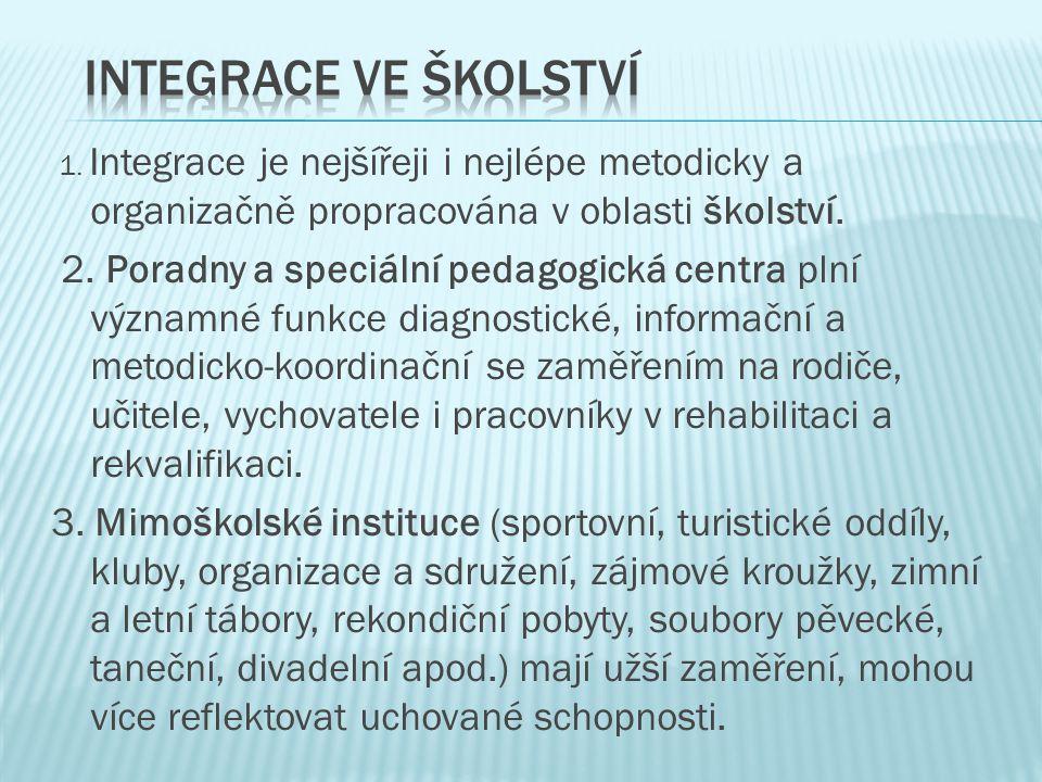 Integrace ve školství 1. Integrace je nejšířeji i nejlépe metodicky a organizačně propracována v oblasti školství.