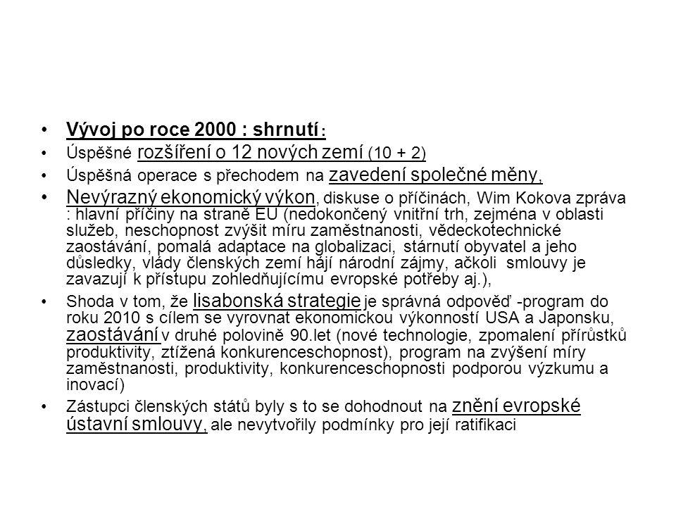 Vývoj po roce 2000 : shrnutí :