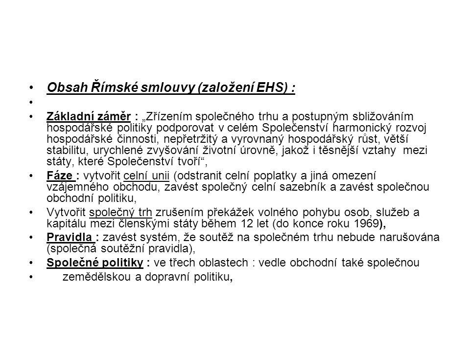 Obsah Římské smlouvy (založení EHS) :
