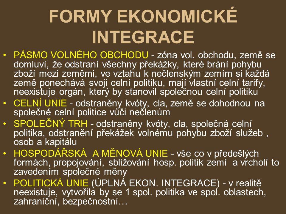 FORMY EKONOMICKÉ INTEGRACE