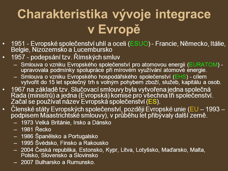 Charakteristika vývoje integrace v Evropě