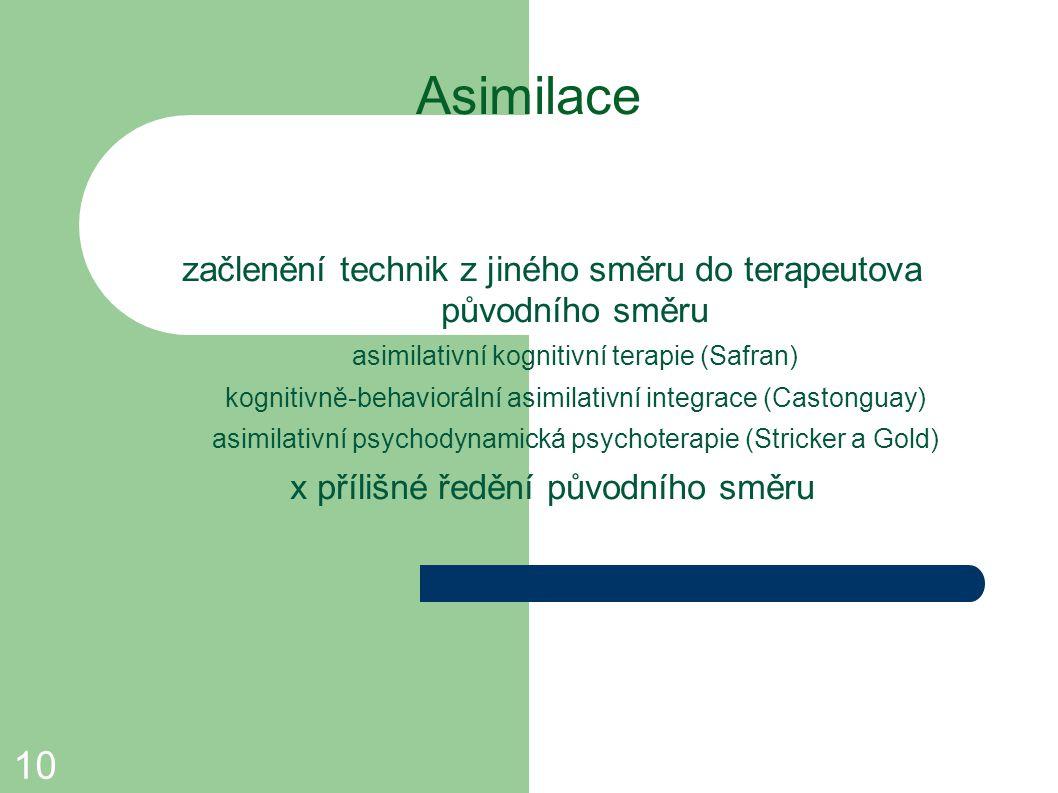 Asimilace začlenění technik z jiného směru do terapeutova původního směru. asimilativní kognitivní terapie (Safran)