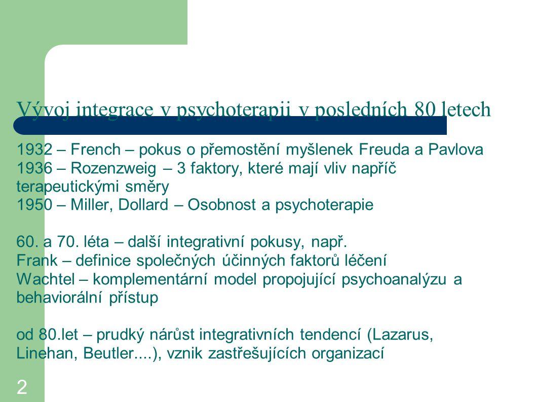 Vývoj integrace v psychoterapii v posledních 80 letech 1932 – French – pokus o přemostění myšlenek Freuda a Pavlova 1936 – Rozenzweig – 3 faktory, které mají vliv napříč terapeutickými směry 1950 – Miller, Dollard – Osobnost a psychoterapie 60. a 70. léta – další integrativní pokusy, např. Frank – definice společných účinných faktorů léčení Wachtel – komplementární model propojující psychoanalýzu a behaviorální přístup od 80.let – prudký nárůst integrativních tendencí (Lazarus, Linehan, Beutler....), vznik zastřešujících organizací