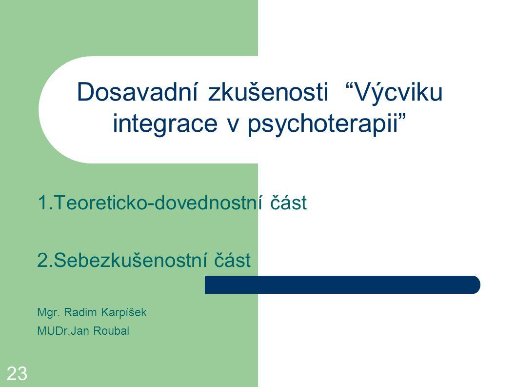 Dosavadní zkušenosti Výcviku integrace v psychoterapii
