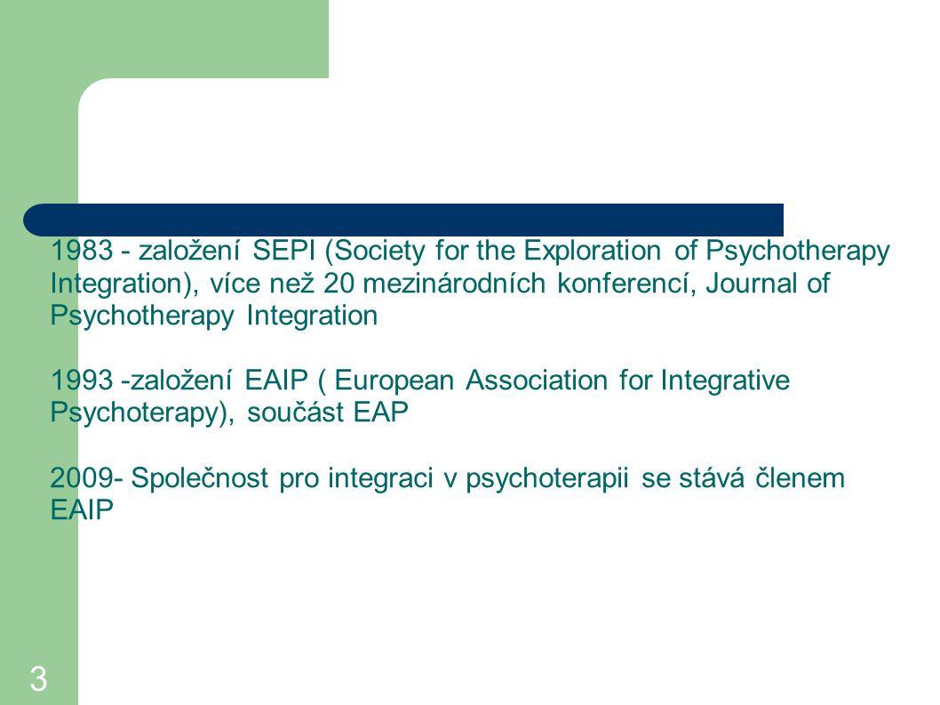 1983 - založení SEPI (Society for the Exploration of Psychotherapy Integration), více než 20 mezinárodních konferencí, Journal of Psychotherapy Integration 1993 -založení EAIP ( European Association for Integrative Psychoterapy), součást EAP 2009- Společnost pro integraci v psychoterapii se stává členem EAIP