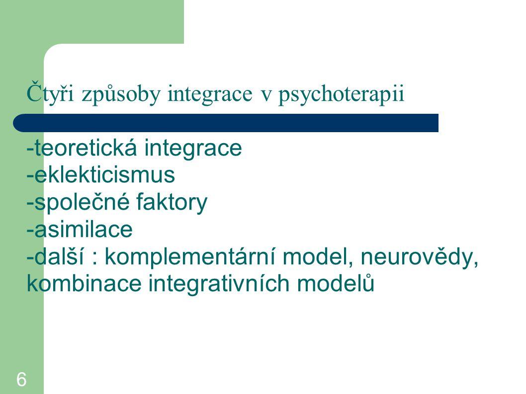 Čtyři způsoby integrace v psychoterapii -teoretická integrace -eklekticismus -společné faktory -asimilace -další : komplementární model, neurovědy, kombinace integrativních modelů