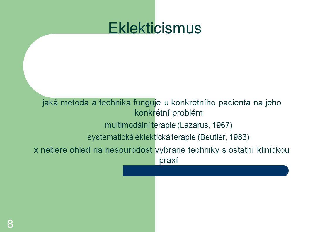 Eklekticismus jaká metoda a technika funguje u konkrétního pacienta na jeho konkrétní problém. multimodální terapie (Lazarus, 1967)