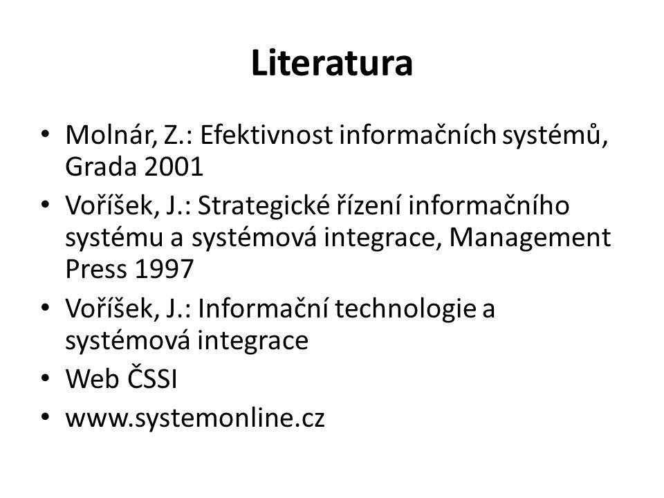 Literatura Molnár, Z.: Efektivnost informačních systémů, Grada 2001