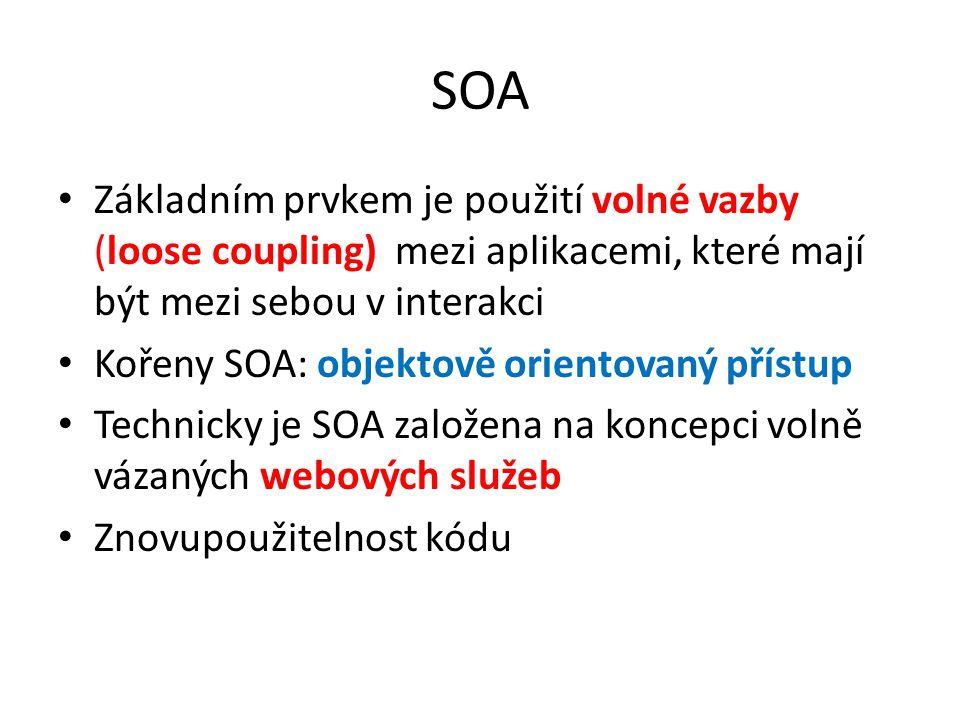 SOA Základním prvkem je použití volné vazby (loose coupling) mezi aplikacemi, které mají být mezi sebou v interakci.