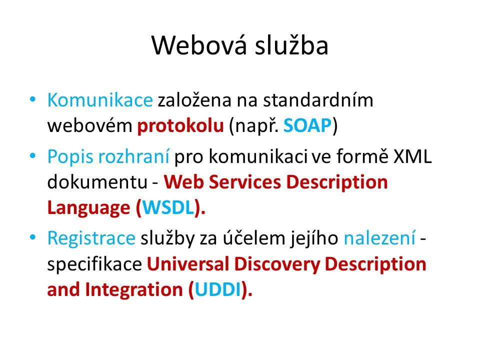 Webová služba Komunikace založena na standardním webovém protokolu (např. SOAP)