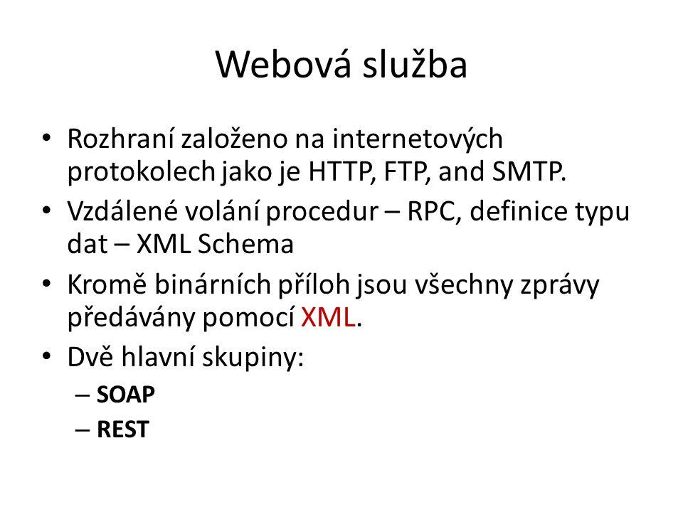 Webová služba Rozhraní založeno na internetových protokolech jako je HTTP, FTP, and SMTP.