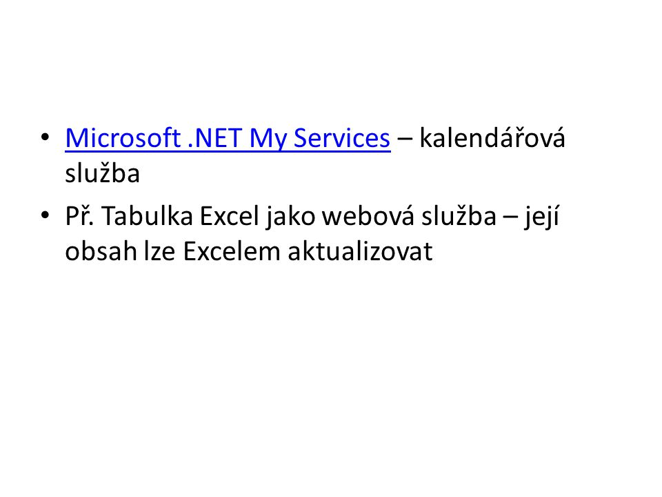 Microsoft .NET My Services – kalendářová služba