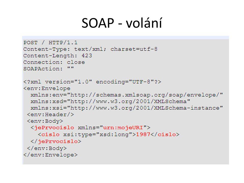 SOAP - volání Funkce boolean jePrvocislo(long cislo) je v Namespace urn:mojeURI.