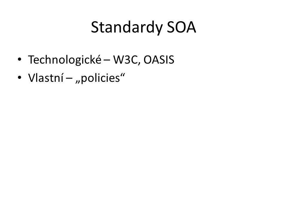 """Standardy SOA Technologické – W3C, OASIS Vlastní – """"policies"""