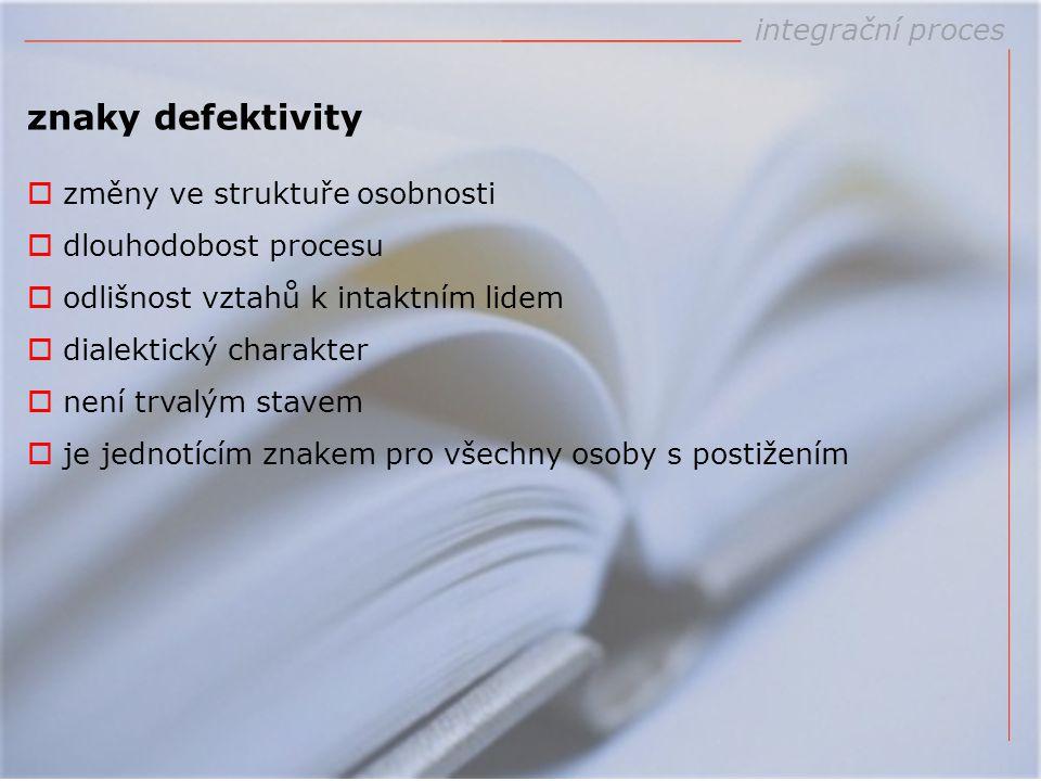 znaky defektivity integrační proces změny ve struktuře osobnosti