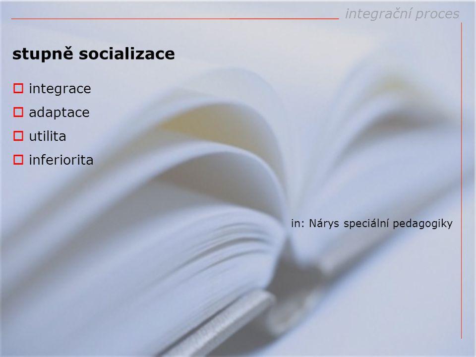 stupně socializace integrační proces integrace adaptace utilita