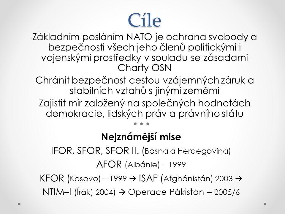Cíle Základním posláním NATO je ochrana svobody a bezpečnosti všech jeho členů politickými i vojenskými prostředky v souladu se zásadami Charty OSN.