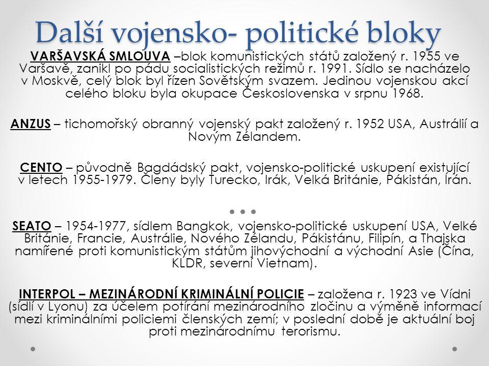 Další vojensko- politické bloky