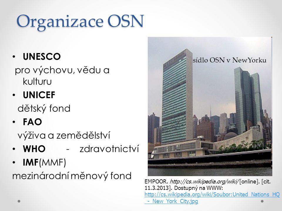 Organizace OSN UNESCO pro výchovu, vědu a kulturu UNICEF dětský fond