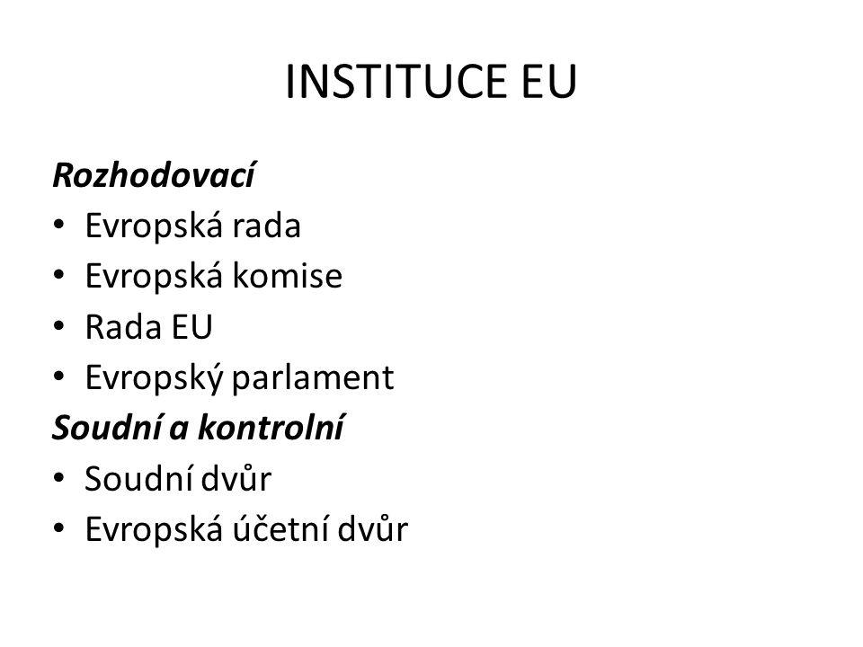 INSTITUCE EU Rozhodovací Evropská rada Evropská komise Rada EU