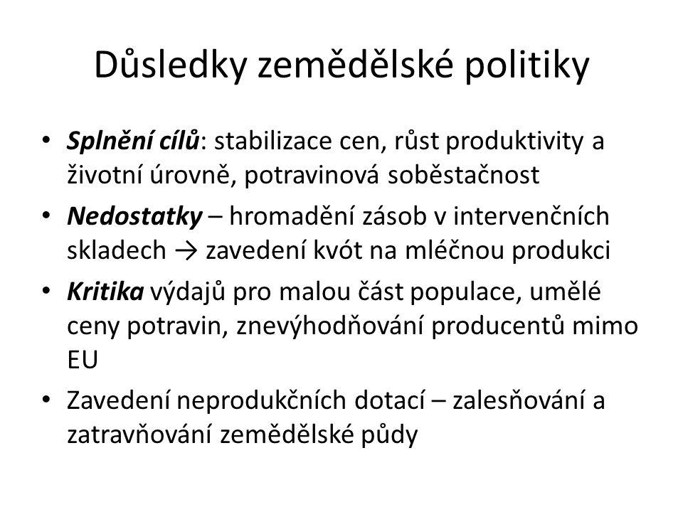 Důsledky zemědělské politiky