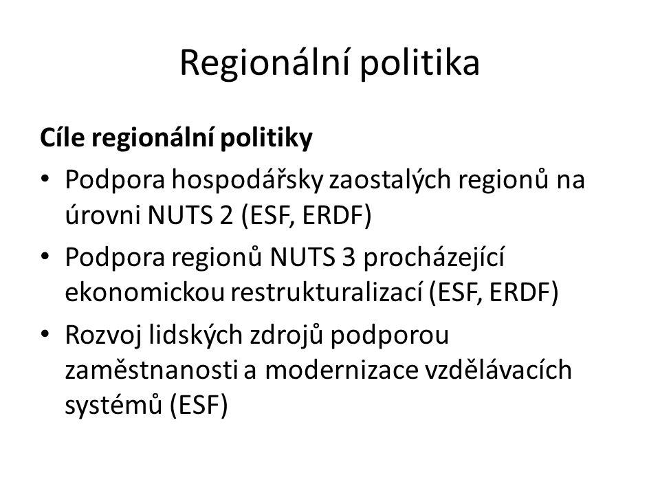 Regionální politika Cíle regionální politiky