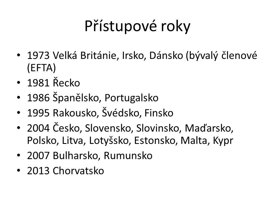 Přístupové roky 1973 Velká Británie, Irsko, Dánsko (bývalý členové (EFTA) 1981 Řecko. 1986 Španělsko, Portugalsko.