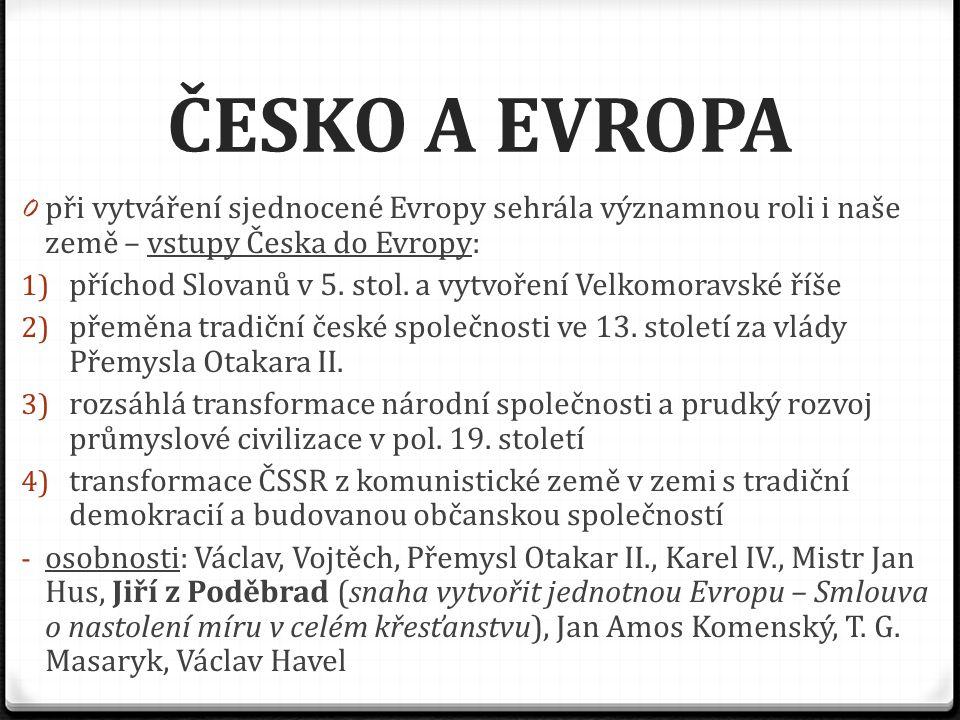 ČESKO A EVROPA při vytváření sjednocené Evropy sehrála významnou roli i naše země – vstupy Česka do Evropy: