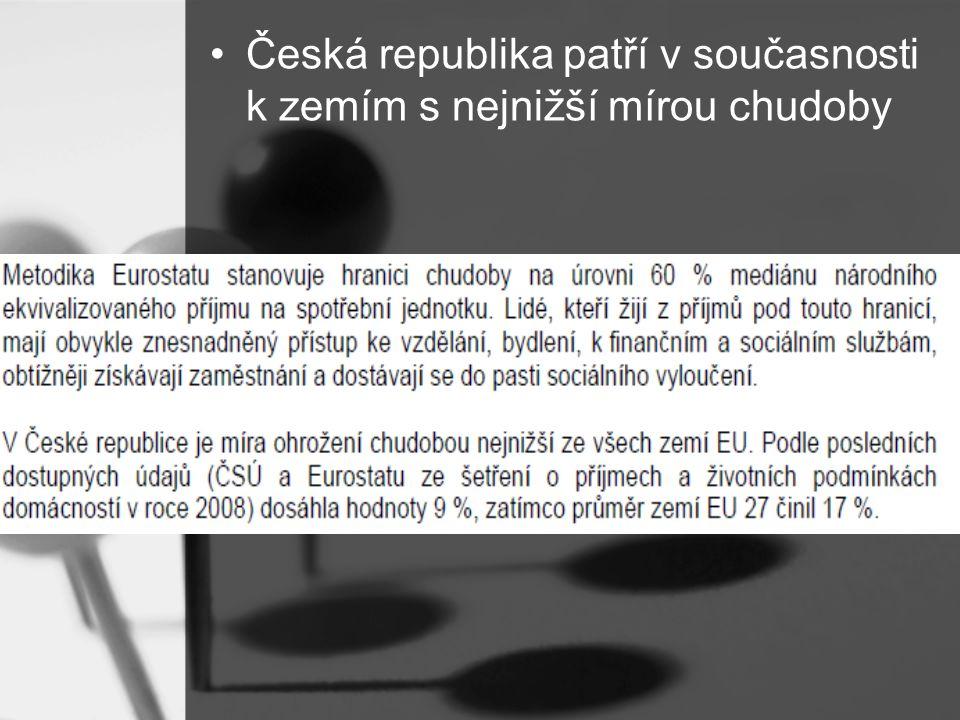 Česká republika patří v současnosti k zemím s nejnižší mírou chudoby