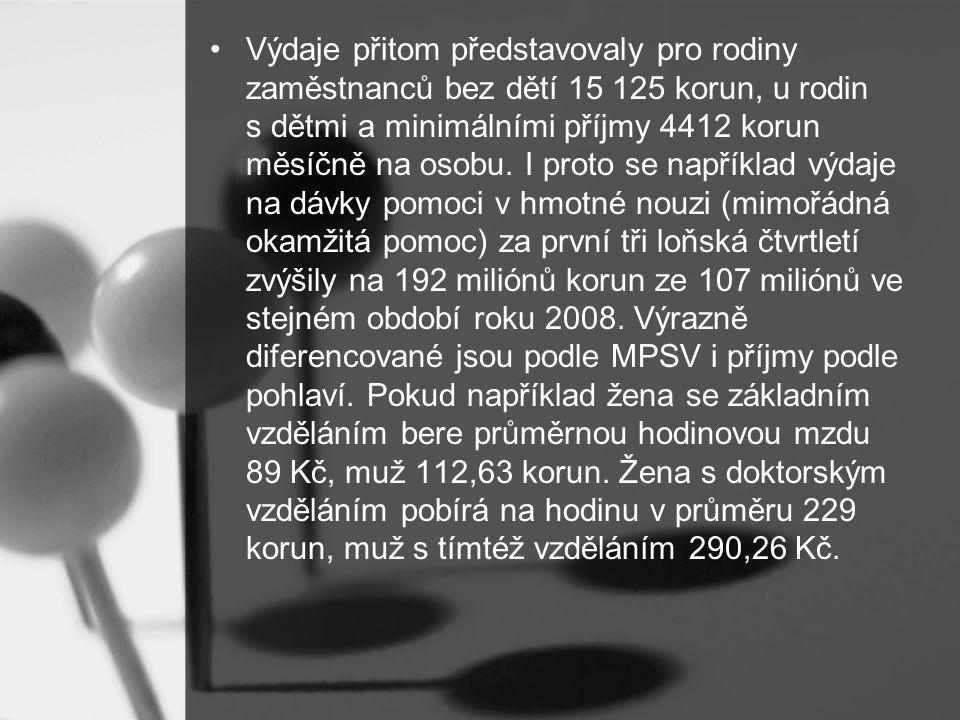Výdaje přitom představovaly pro rodiny zaměstnanců bez dětí 15 125 korun, u rodin s dětmi a minimálními příjmy 4412 korun měsíčně na osobu.