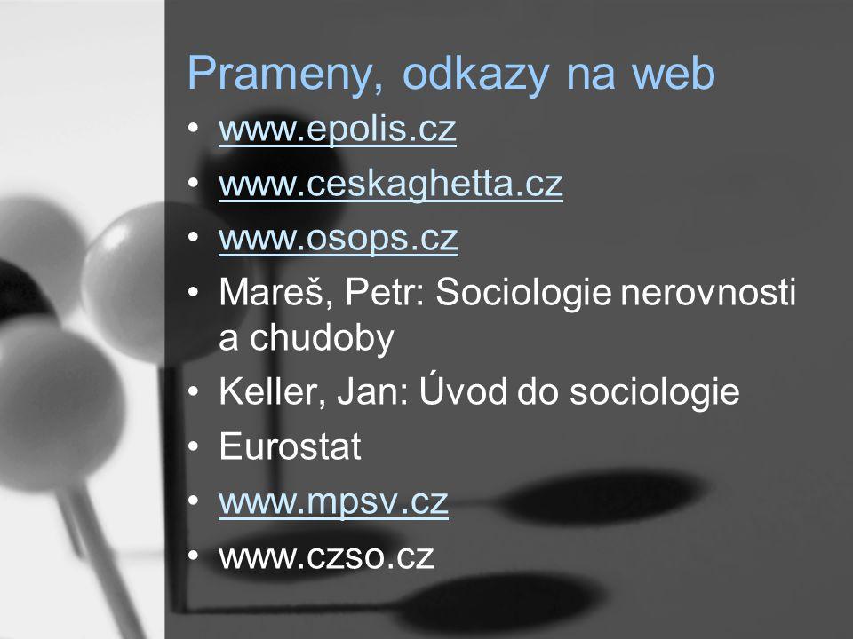 Prameny, odkazy na web www.epolis.cz. www.ceskaghetta.cz. www.osops.cz. Mareš, Petr: Sociologie nerovnosti a chudoby.